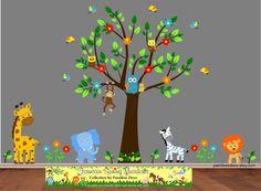 Jungle Wall Decal Tree Monkey Giraffe Elephant Zebra Lion Owls Birds - Nursery Wall Decals Wall Sticker - Safari Zoo Animals Decals -S21 HWT