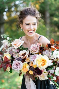 Autumn-inspired wedding bouquet: http://www.stylemepretty.com/canada-weddings/ontario/cambridge-ontario/2017/03/23/moody-fall-wedding-inspiration/ Photography: Corina V. - http://corinavphotography.com/