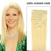 16 Inch 8pcs Trueborn Straight Clip In Remy Human Hair Extensions 100g (#613 Lightest Blonde)