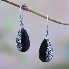 Onyx dangle earrings, 'Night Sorceress' - Drop-Shaped Onyx Dangle Earrings from Bali Gold Star Earrings, Cheap Earrings, Simple Earrings, Silver Necklaces, Women's Earrings, Simple Jewelry, Star Jewelry, Jewelry For Her, Gold Jewelry