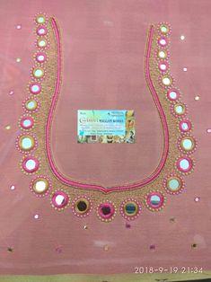 Mirror Work Kurti Design, Mirror Work Saree Blouse, Mirror Work Dress, Mirror Work Blouse Design, Embroidery Neck Designs, Embroidery Suits Design, Chudidhar Neck Designs, Hand Designs, Maggam Work Designs