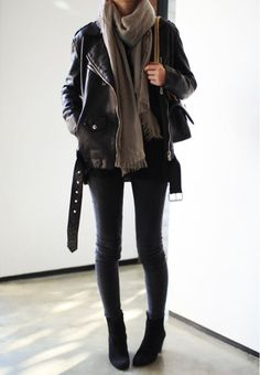 leather jacket + black jeans Fashion Women's T-shirts, jackets, jeans, handbags, shoes, sunglasses and scarves, cheap replicas with high quality, welcome to visit http://popbrands.co/