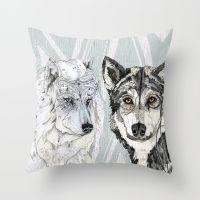 Wolf Family Portrait Throw Pillow