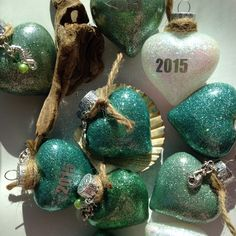 Holiday tree ornaments just listed! Sea glass colors. Sea creature charms.