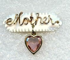 Vtg Mother Sweetheart Carved Mother Pearl GF Wire Dangle Rose Crystal Heart Pin