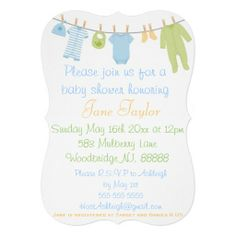 Blue & Green Little Clothes Baby Shower Invitation