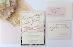 Blush and Gold InvitationTRUE BLUSH by AlexandriaLindo on Etsy