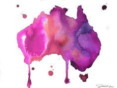 Items similar to Watercolor Australia Map - Australian Dreams No. 2 print on Etsy Australia Map, Hello Australia, Map Quilt, Water Color World Map, Watercolor Map, Travel Illustration, Aboriginal Art, Map Art, Art Photography