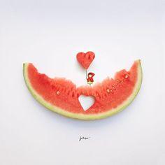 Creative art and drawing ideas of Indonesian artist Veri Apriyatno Creative Photography, Art Photography, Minimalist Photos, Fruit Art, Arte Floral, Funny Art, Fun Funny, Cute Illustration, Website Illustration