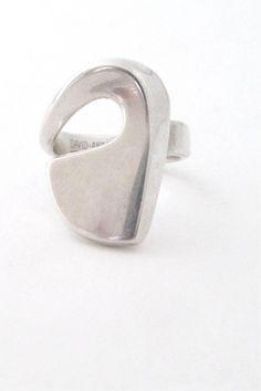 David-Andersen, Norway - vintage modernist large silver swirl ring