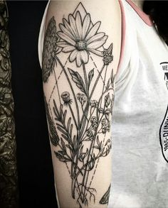 Black and gray floral tattoo by @cindyvegatattoo                                                                                                                                                                                 More