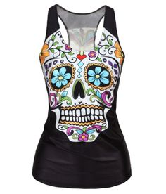 New Style women Floral sugar skull tank tops adventure time camisole HOT SALE drop Shipping Alternative Measures