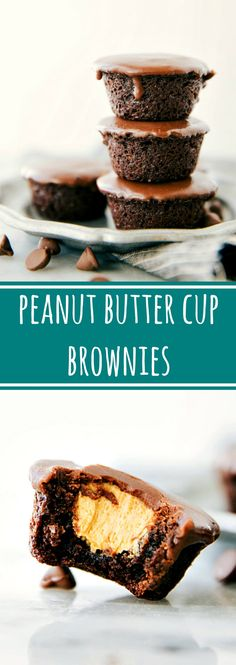 Easy miniature peanut butter cup brownie bites. Creamy peanut butter filling in a chocolate fudge brownie bite