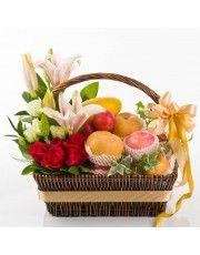 Fruit Flower Basket, Fruits Basket, Online Florist, Kuching, Arte Floral, Allium, Flower Delivery, Colorful Pictures, Hamper