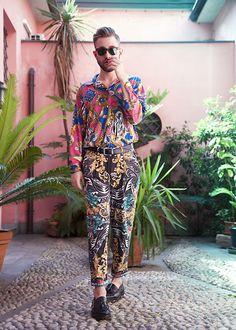 Get this look: http://lb.nu/look/8317349  More looks by Alberto Degano: http://lb.nu/albertodega  Items in this look:  Versace Shirt, Versace Pants, Zara Shoes   #versace #boy #pink