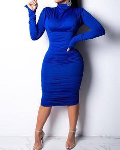Fashion Long Sleeve Wrinkles Bodycon Dresses - Fashion Long Sleeve Wrinkles Bodycon Dresses – milaio Source by - Satin Dresses, Midi Dresses, Sexy Dresses, Casual Dresses, Long Sleeve Midi Dress, Ladies Dress Design, Dress Brands, Fashion Dresses, Fashion Clothes