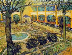 Vincent van Gogh (Dutch, Post-Impressionism, 1853-1890): The Courtyard of the Hospital in Arles, 1889. Oil on canvas, 73 x 92 cm. Oskar Reinhart Foundation, Winterthur, Switzerland.