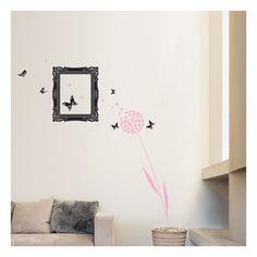 Muursticker van een prachtige frame met een vlinder. Ideaal voor de woonkamer en persoonkamers. De sticker is gemaakt van fluwelen stof, en gedecoreerd met parels.