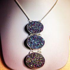 Three Druzy necklace