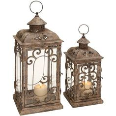 Decmode Metal and Glass Lantern, Set of 2, Multi Color, Multicolor