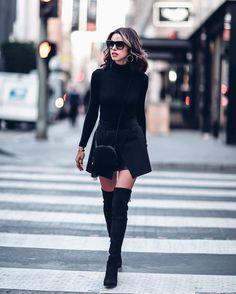 "Polubienia: 43.8 tys., komentarze: 169 – Annabelle Fleur (@vivaluxuryblog) na Instagramie: ""Back to black & my favorite #overtheknee boots via @nordstrom ✔️✔️✔️ | #ootd details up on my site…"""