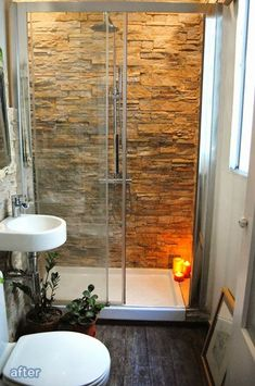 Rock the Shower - LOVE the feeling of this bathroom! #smallbathrooms