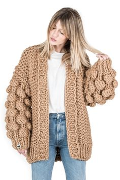 """The world's famous authentic """"Warm Up"""" cardigan! Unique designed, bubble sleeves and relaxed Brown Cardigan, Online Boutiques, Casual Outfits, Turtle Neck, Knitting, Sleeves, Crochet Sweaters, Dresses, Camel"""