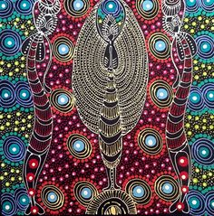Dreamtime Sisters by Colleen Wallace Nungari, x Aboriginal Painting. Aboriginal Painting, Aboriginal Artists, Canvas Background, Alice Springs, Good Spirits, Artist Profile, Artist Names, Rock Art, Colorful Backgrounds