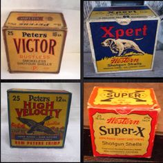 Vintage shotgun shell boxes