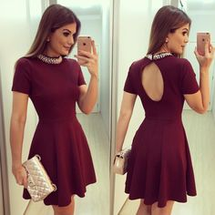 Cheap Short Homecoming Dresses, Beading A-line Prom Dresses, Scoop Neck Satin Party Dresses, Open Back Short Sleeve Cocktail Dress on Storenvy Burgundy Homecoming Dresses, Cheap Homecoming Dresses, A Line Prom Dresses, Grad Dresses, Little Dresses, Cute Dresses, Party Dresses, Beautiful Dresses, Formal Dresses