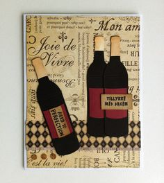 Card wine bottles - Graphic 45 paper pad - card for men masculine - drinks wine bottle - Aged to Perfection - drinks wine bottle card - JKE