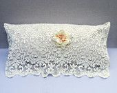 Shabby Chic Pillow, Victorian Pillow, Bridal Pillow, Adorned with White Silk and Vintage Lace