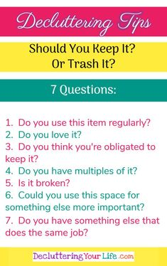 Decluttering ideas and tips for packrats and hoarders - If you're truly ready to declutter your home, you MUST throw things away! Here are 7 questions to ask yourself to help decide what to keep and what to throw away when decluttering. Organizing Hacks, Clutter Organization, Cleaning Hacks, Decluttering Ideas, Organization Ideas, Organising, Household Organization, Deep Cleaning, Storage Ideas