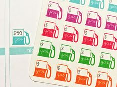 30 Gas Pump Label Stickers! Perfect for your Erin Condren Life Planner, Filofax, Plum Paper & other planner or scrapbooking!