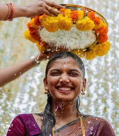 Weddings are all about scouting beautiful, ethereal shots from the album, and going all 'awh'!While looking for such shots in South Indian weddings, we realised how alluring is the Mangala Snanam r. Desi Wedding Decor, Wedding Hall Decorations, Wedding Mandap, Marriage Decoration, Wedding Events, Wedding Reception, Telugu Wedding, Wedding Entrance, Backdrop Decorations