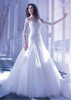 CHARMING TULLE ORGANZA BATEAU NECKLINE NATURAL WAISTLINE A-LINE WEDDING DRESS IVORY WHITE LACE BRIDAL GOWN