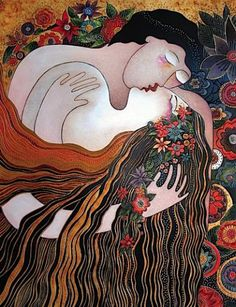 "First Kiss ~ Laurel Burch ~ ""Inspire, share Love, join hands, open hearts.. We are here for each other"""