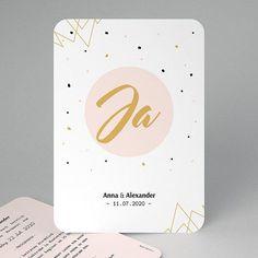 """Mit der Hochzeitseinladung """"Ja, ich will"""" wird Ihre Gäste begeistern. Gold, Save The Date Cards, Modern Wedding Invitations, Card Wedding"""