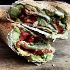 Smashed avocado, tomato toasted wrap. Keeping it simple!
