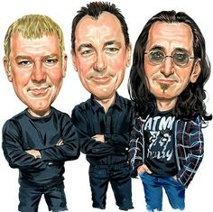 Shop for heavy metal music artwork and designs from the world's greatest living artists. All heavy metal music artwork ships within 48 hours and includes a money-back guarantee. Great Bands, Cool Bands, Rock And Roll Artists, Rush Band, Geddy Lee, Neil Peart, Music Artwork, Metal Artwork, Celebrity Caricatures