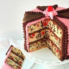 Cherry Chocolate Chip Layer Cake