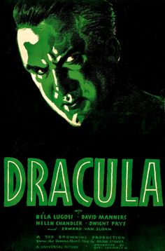 Movie Poster, 1931, Directed by Tod Browning, Based on 'Dracula' novel by Bram Stoker 'Dracula'. Dracula is an American pre-Code vampire-horror film. #Dracula