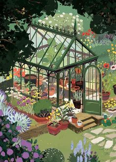 "kimdraws: "" My piece for Light Grey Art Lab's Arboretum show! Prints can be purchased from Light Grey's website. Hoping to do a few more of these greenhouse studies. There are some real stunners out. Art And Illustration, Animal Illustrations, Art Inspo, Kunst Inspo, Art Gris, Art Mignon, Grafiti, Grey Art, Guache"