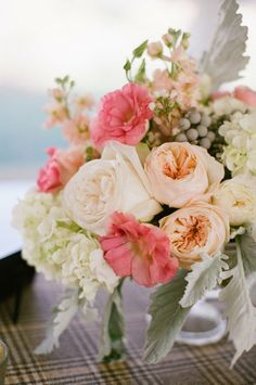 Coral, peach, white wedding flowers