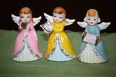 3 vintage ceramic Easter pastel clad ANGELS Japan musical accordion harp horn (02/10/2013)