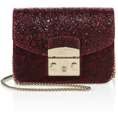 Furla Metropolis Mini Glitter Leather Crossbody Bag ($328) ❤ liked on Polyvore featuring bags, handbags, shoulder bags, leather crossbody purse, handbags crossbody, man leather shoulder bag, leather man bags and red leather purse