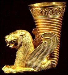 Takuk (Rhyton) from Iran's Achaemenid period.  Kept at National Museum of Iran, Teheran.