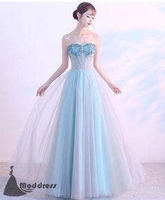 75b831d6d0 Blue Long Prom Dress Sweetheart Evening Dress Applique Tulle Formal Dress
