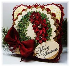 Poinsettia Wreath by glowbug - Cards and Paper Crafts at Splitcoaststampers