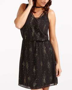 Light up the room in this head-turning Sleeveless Dress! Embellished with gold details, it features a flattering neckline and an elastic waistband. Pair it with your favourite high heels to party all night long!<br /><br />Perfect for: a small soiree, an office party or a big bash